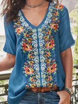 Ericdress Short Sleeve V-Neck Floral Summer Casual T-Shirt