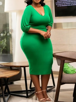 Ericdress Plus Size Bodycon Half Sleeve Mid-Calf Plain Green Dress