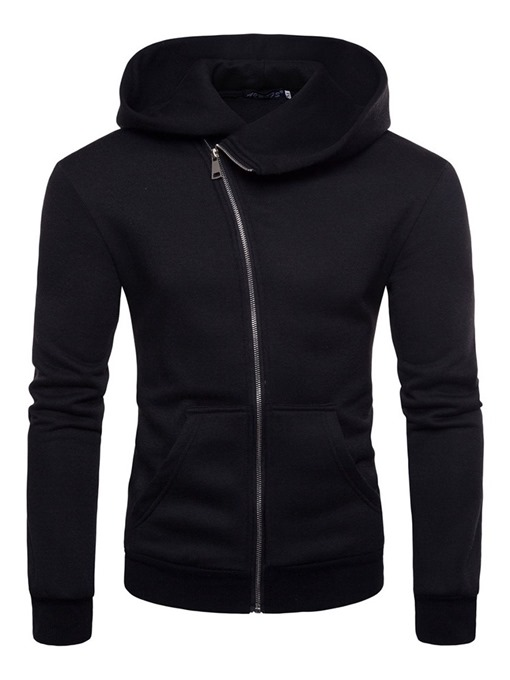 Ericdress Pocket Cardigan Plain Men's Zipper Hoodies