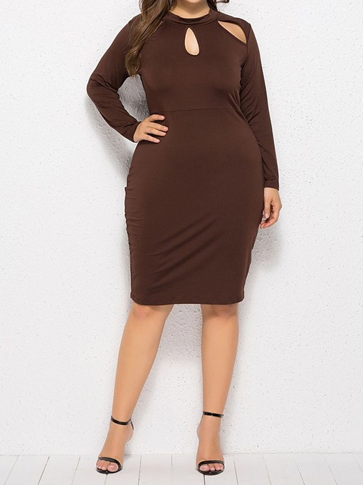Ericdress Plus Size Bodycon Round Neck Knee-Length Regular Fashion Dress