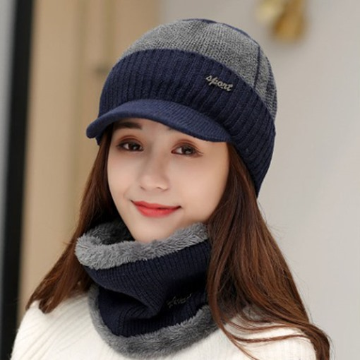 Ericdress Knitted Hat Woolen Yarn Color Block Fall Hat