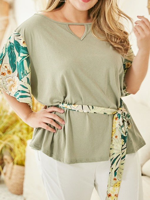 Ericdress Plus Size Floral Lace-Up Loose Summer T-Shirt