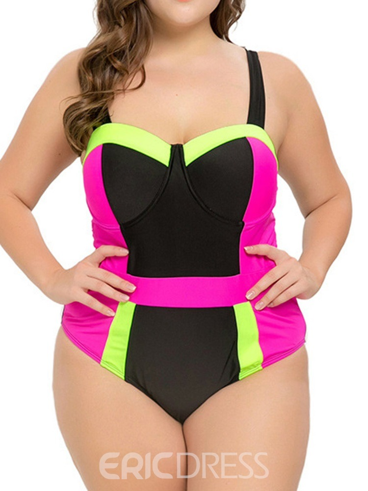 Ericdress Plus Size Patchwork Stretchy Color Block Sexy Swimwear