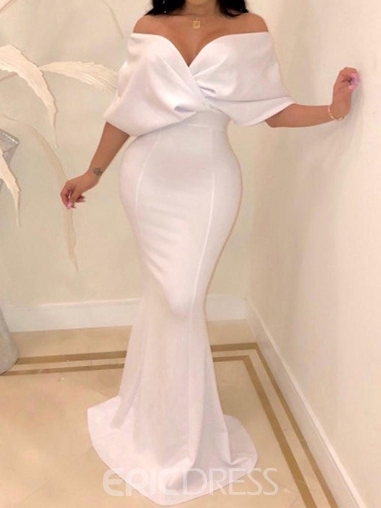 Ericdress Mermaid Batwing Sleeve Strapless Floor-Length Plain Maxi Dress