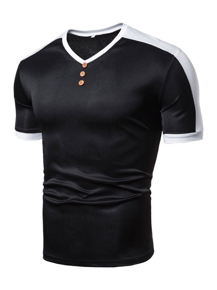 Ericdress Casual Color Block V-Neck Men's Loose T-shirt
