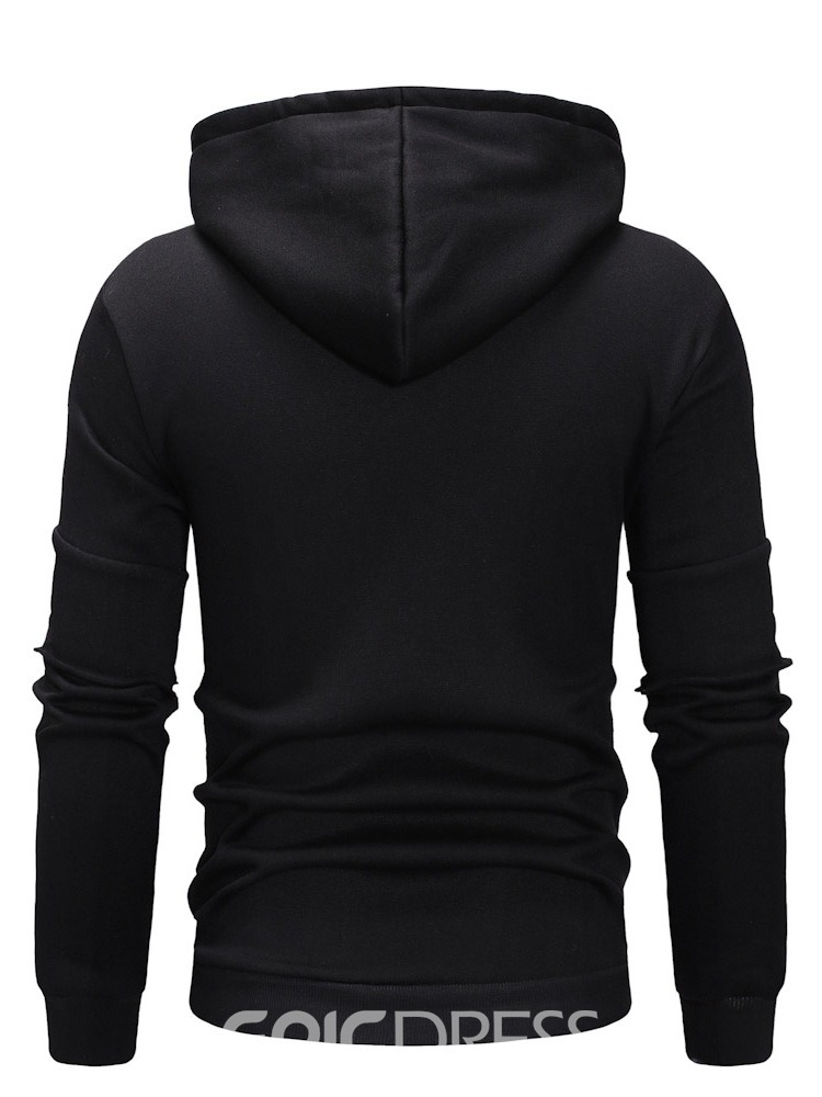 Ericdress Zipper Letter Pullover Men's Slim Hoodies