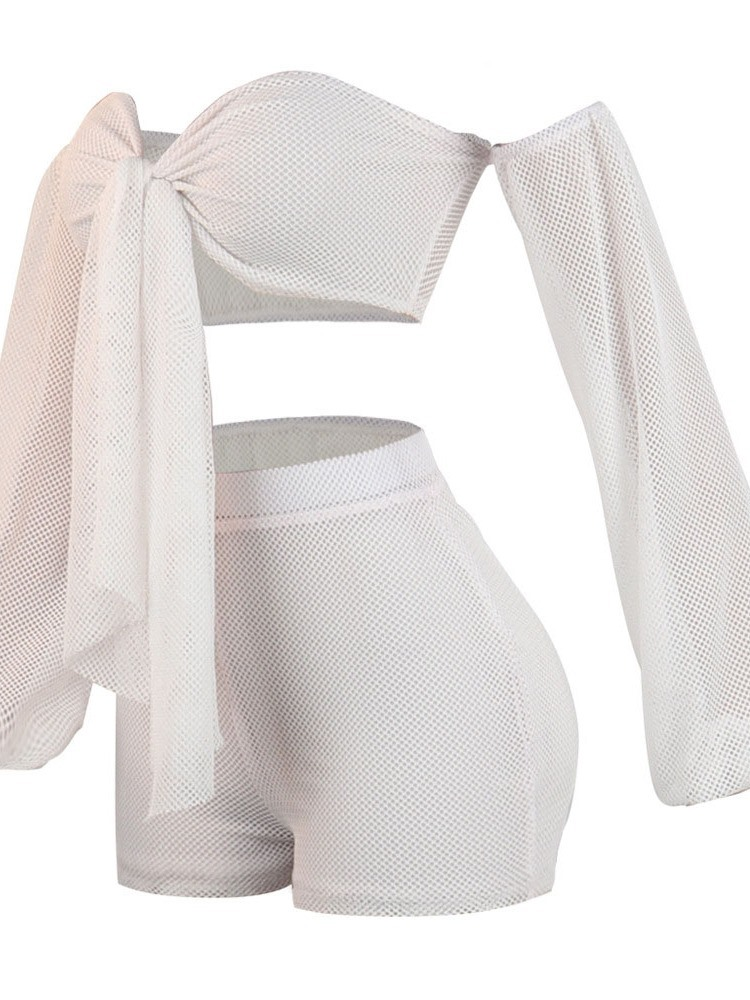 Ericdress Lace-Up Sexy Plain Off Shoulder Women's Suit T-Shirt And Shorts Two Piece Sets