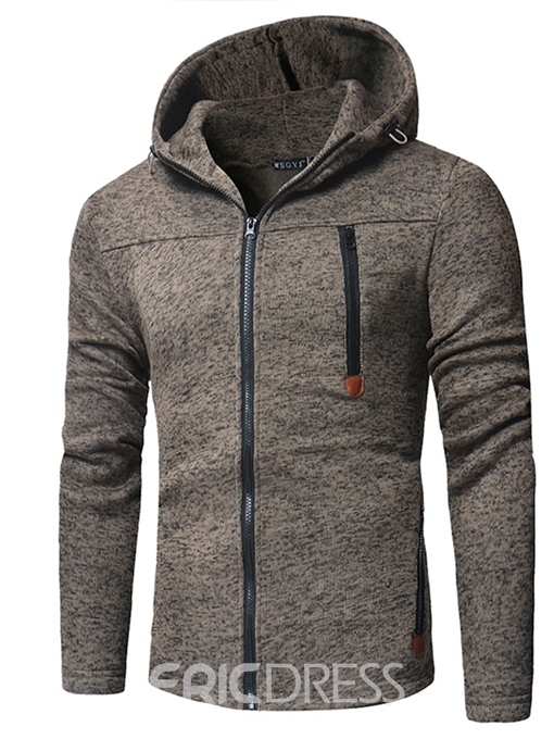Ericdress Fleece Cardigan Color Block Hooded Men's Zipper Hoodies