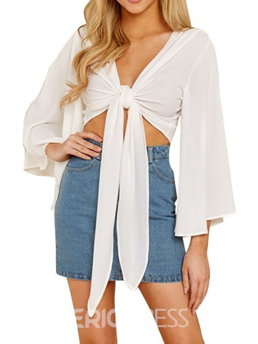 Ericdress V-Neck Flare Sleeve Lace-Up Short Sexy Blouse