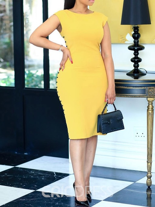 Ericdress Bodycon Short Sleeve Knee-Length Round Neck Standard-Waist Yellow Dress
