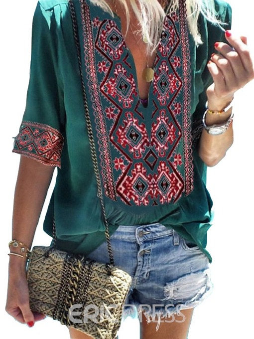 Ericdress V-Neck Color Block Ethnic Print Loose T-Shirt