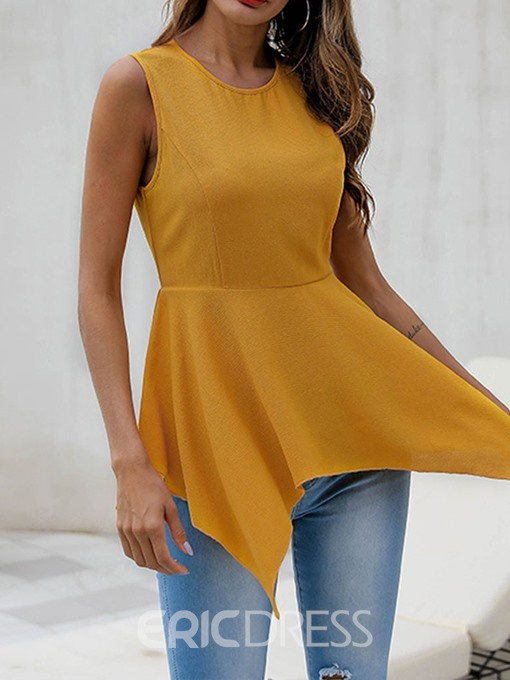 Ericdress Asymmetric Round Neck Sleeveless Fashion Blouse