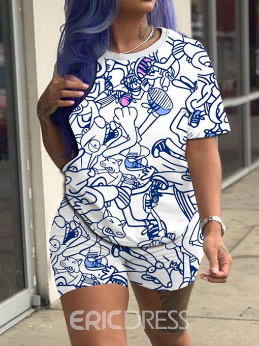 Ericdress Cartoon Print Casual Round Neck Women's Suit T-Shirt And Shorts Two Piece Sets