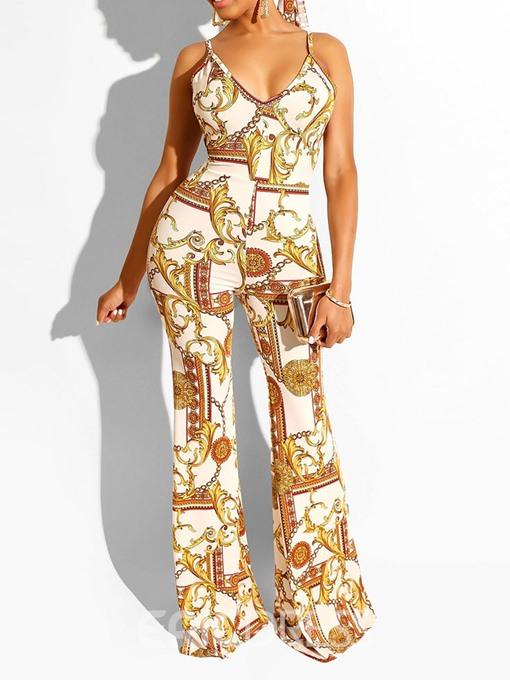 Ericdress Strap Fashion Full Length Loose Bellbottoms Jumpsuit