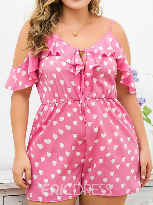 Ericdress Plus Size Heart Shaped Strap Loose Straight Romper