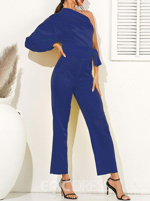 Ericdress Oblique Collar Asymmetrical Skinny Dressy Jumpsuit