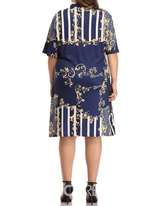 Ericdress Plus Size Print Casual Half Sleeve V-Neck Regular Dress