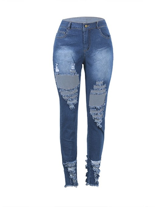 Ericdress Plain Ripped Pencil Pants Mid Waist Skinny Jeans