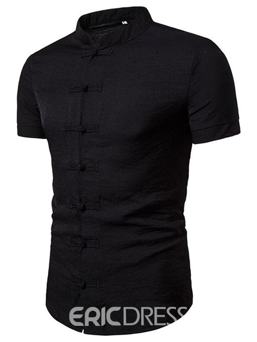 Ericdress Stand Collar Casual Plain Men's Single-Breasted Shirt