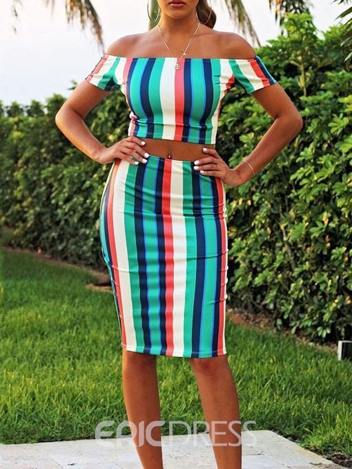 Ericdress Dressy Stripe Off Shoulder Pullover Women's Suit T-Shirt And Skirt Two Piece Sets