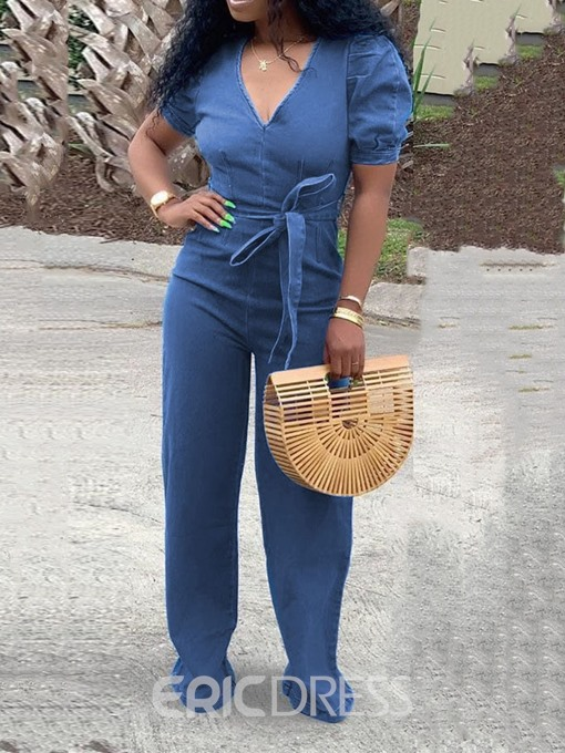 Ericdress Plain Denim Full LengthLace-Up Loose Jumpsuit