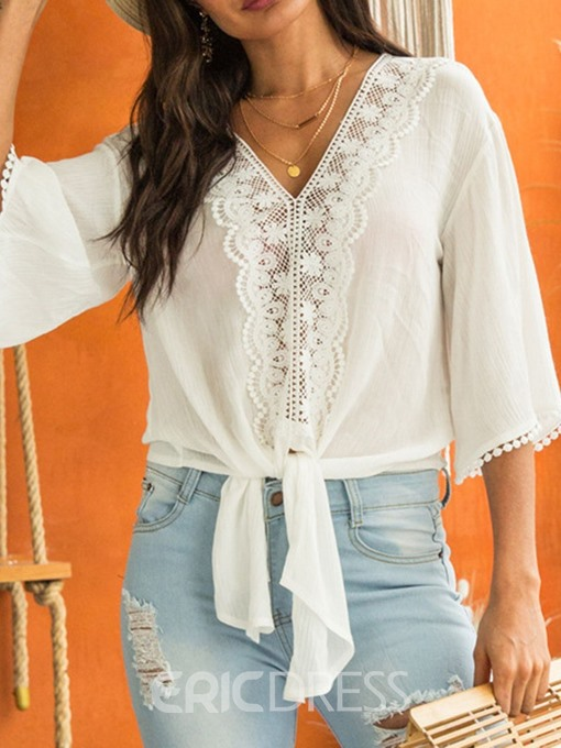 Ericdress V-Neck Patchwork Lace Flare Sleeve Fashion Blouse