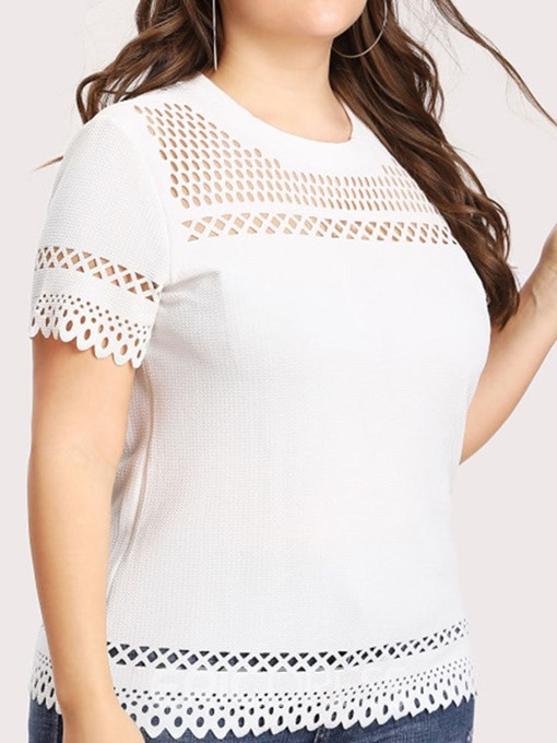Ericdress Plus Size Short Sleeve Round Neck Hollow Sexy T-Shirt