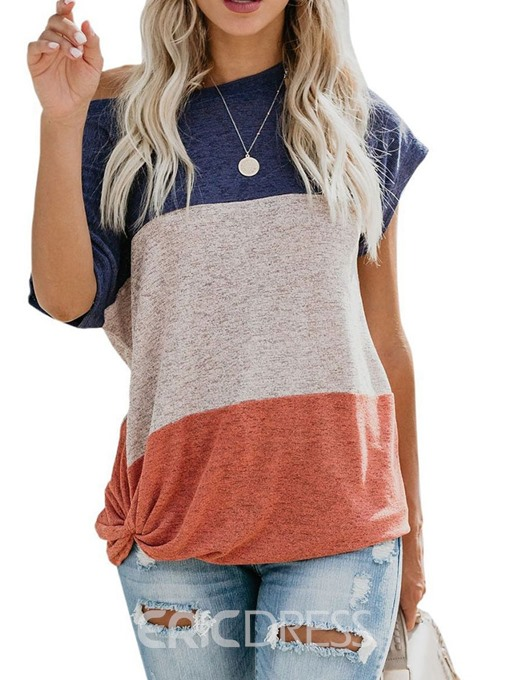 Ericdress Mid-Length Color Block Short Sleeve Loose T-Shirt