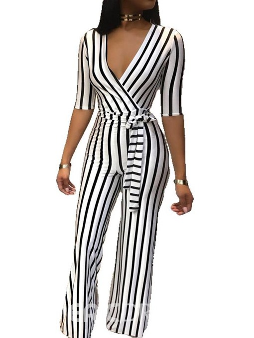 Ericdress Stripe Lace-Up Skinny Straight Jumpsuit