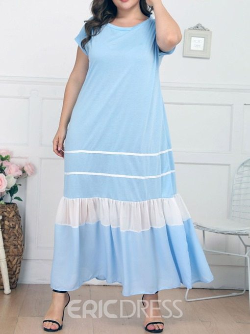Ericdress Plus Size Casual Color Block Ankle-Length Round Neck High Waist Dress