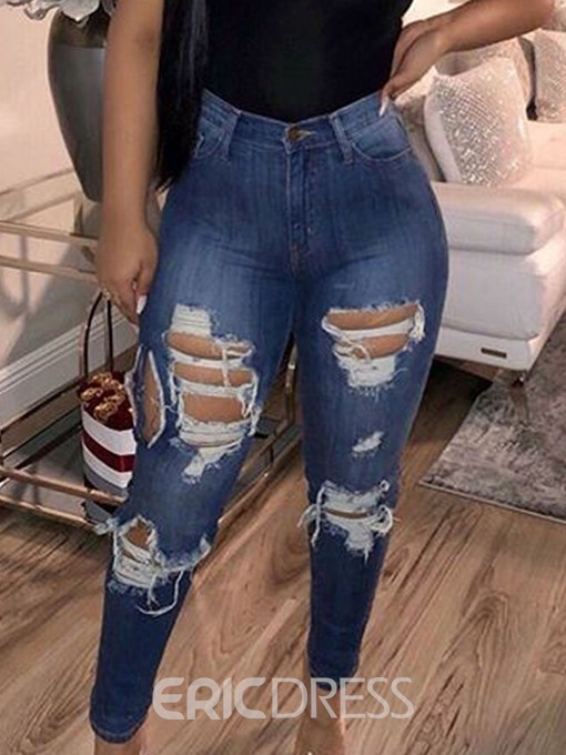 Ericdress Ripped Washable Plain Skinny Jeans