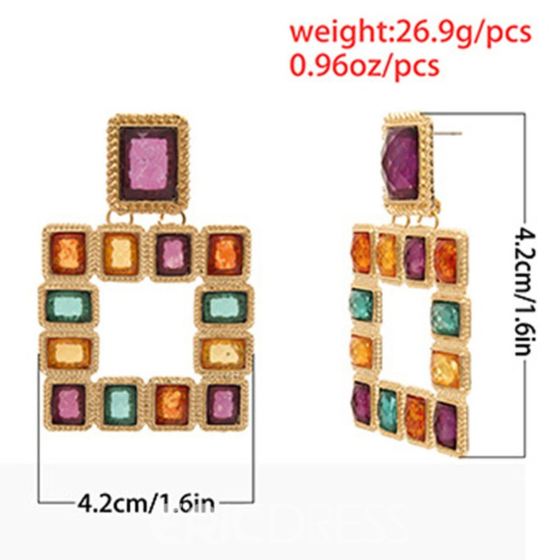 Ericdress Diamante Color Block Square Earrings