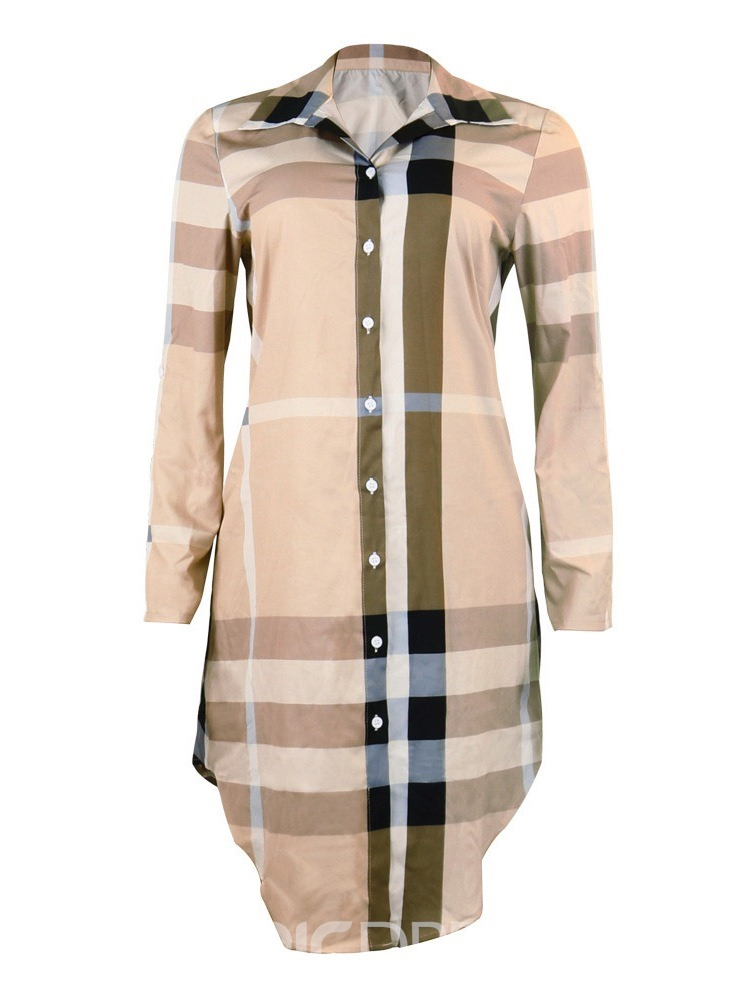 Ericdress Plaid Asymmetric Casual Lapel Summer Single Dress