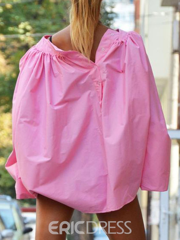 Ericdress Off Shoulder Lantern Sleeve Button Fashion Blouse