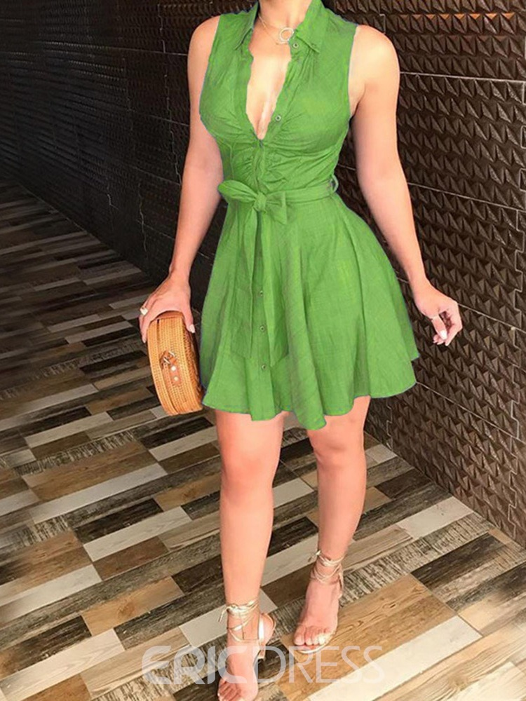Ericdress A-Line Pleated Sleeveless Lapel Single-Breasted Green Dress