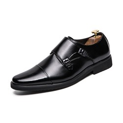 Ericdress PU Color Block Slip-On Round Toe Mens Dress Shoes фото