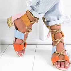 Ericdress Color Block Open Toe Lace-Up Chunky Heel Womens Sandals фото