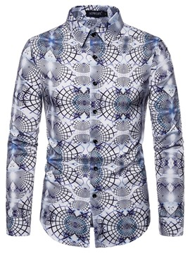 Ericdress Color Block Fashion Print Men's Slim Shirt