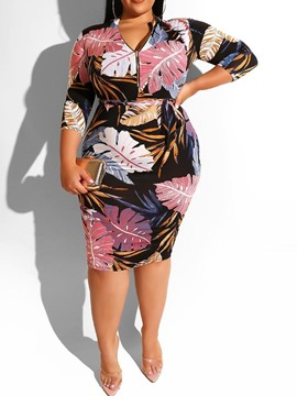Ericdress Plus Size Plant Print Bodycon Zipper Dress