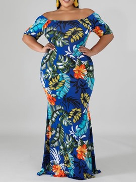 Ericdress Plus Size Off Shoulder Short Sleeve Floor-Length Plant Bodycon Dress