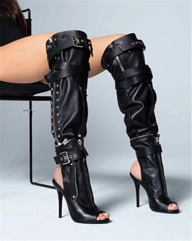 Ericdress Peep Toe Side Zipper Cross Strap Women's Knee High Boots