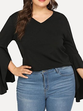 Ericdress Plus Size V-Neck Plain Long Sleeve Spring Slim T-Shirt