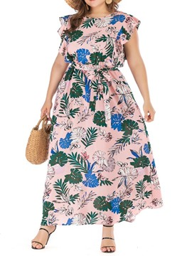 Ericdress Plus Size Print Round Neck Cap Sleeve Summer Dress