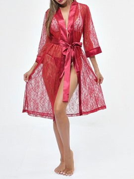 Ericdress Cardigan Hollow Plain Lace Sexy Robe