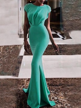 Ericdress Mermaid Diamond Floor-Length Short Sleeve Plain Single Maxi Dress