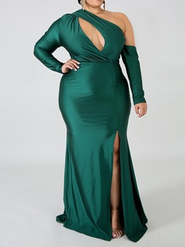 Ericdress Plus Size Party Split Floor-Length Oblique Collar Bodycon Dress
