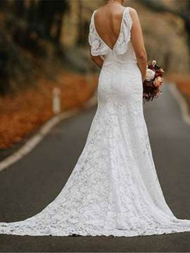 Ericdress Ruffles Spaghetti Straps Lace Wedding Dress 2019