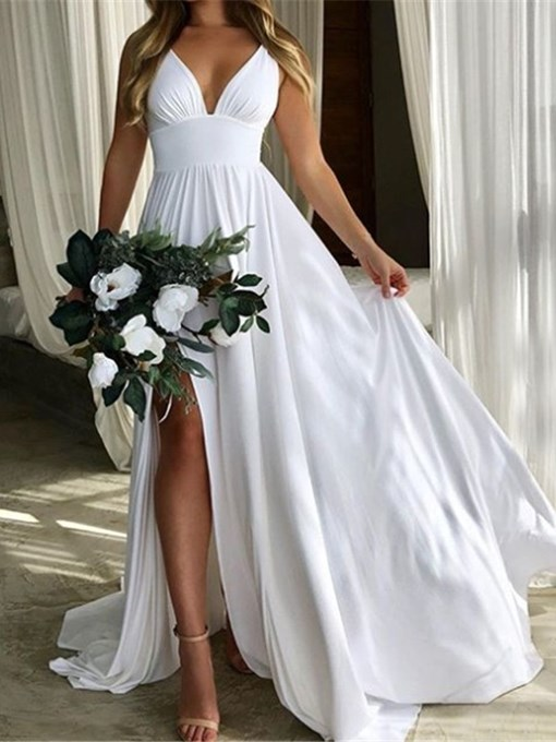 Ericdress Straps Empire Waist Split-Front Beach Wedding Dress