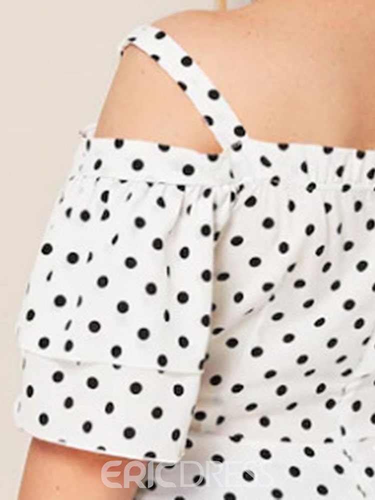 Ericdress Plus Size Polka Dots Off-Shoulder Bowknot Casual Blouse