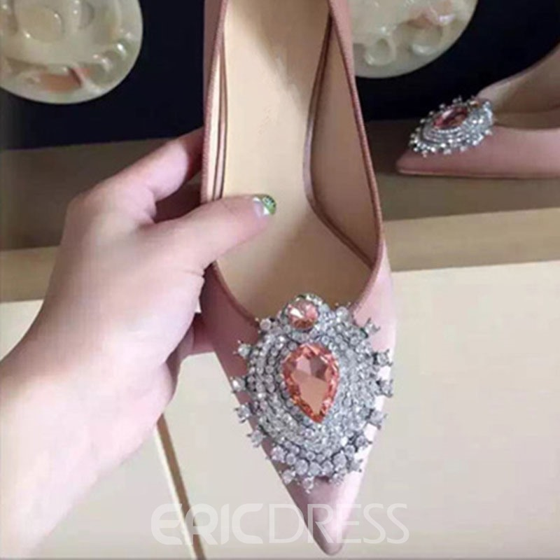 Ericdress Rhinestone Silk Fabric Slip-On Pointed Toe Women's Prom Shoes